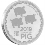 2019 Niue 1 oz Silver $2 Lunar Year of the Pig Three Pigs BU