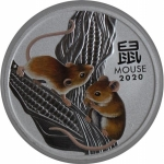 2020 Australia 1 oz Silver Lunar Mouse BU (Series III, Colorized)