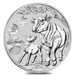 2021 Australia 1 oz Silver Lunar Ox Dragon Privy BU (Series III)