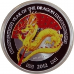1 Unze Silber Proof PP  Drache Year of the Dragon - gilded coloriert Niue 2012