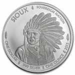 2015 1 oz Silver BU Native American Mint - $1 Sioux Indian