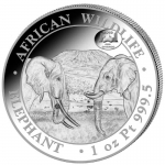 1 Oz Silver Somalia 100 Sh Wildlife Elephant ANA Chicago...