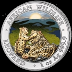 2019 Somalia 1 oz Silver African Wildlife Leopard coloured