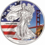 1 oz Silver American Eagle USA 2014 Colorized Golden Gate...