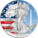 1 Unze Silber farbig American Eagle 2015 USA Washington...