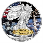1 oz Silver American Eagle USA 2018 60 Years NASA - ISS
