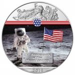 1 Unze Silber farbig American Eagle 2019 USA 50 Jahre Mondlandung First Man on the Moon