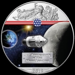 1 Unze Silber farbig American Eagle 2019 USA 50 Jahre Mondlandung On the Way to the Moon