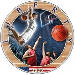 1 oz Silver American Eagle USA 2020 Colorized Basketball - Best American Sports Series