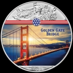 1 Unze Silber farbig American Eagle 2020 USA Golden Gate...