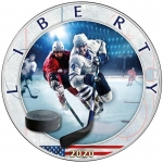 1 oz Silver American Eagle USA 2020 Colorized Ice Hockey - Best American Sports Series