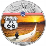 1 oz Silver American Eagle USA 2020 Colorized Route 66...