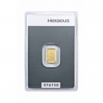 1 gram Heraeus Gold Bar (embossed) .9999 Fine (In Assay)