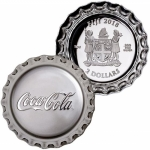 2 $ Dollar Coca Cola Bottle Cap Shaped Fiji 1 Oz Silber...