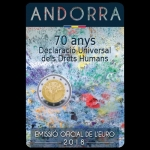2 Euro Andorra 2018 70 Years Declaration Human Rights