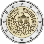 2 Euro German 2015 25 Years German Unit Mintmark G Karlsruhe