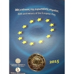 2 Euro Greece 2015 30 Years European Flag in Coincard