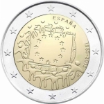 2 Euro Spain 2015 30 Years European Flag
