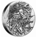 Tuvalu 2014 $2 Gods Of Olympus? Zeus 2oz Silver Antique