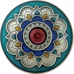 2 Oz Silver Cameroun MANDALA Wheel of Life 2019  coloured...