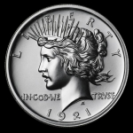 2 Unzen Ultra High Relief 1921 Peace Dollar Silber  999,99