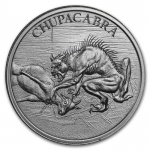 2 Unzen Ultra High Relief Chupacabra Cryptozoology Silber  999,99