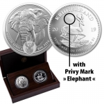 2 x 1 oz Silver South African Big Five Elephant and...