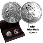 2 x 1 oz Silver South African Big Five Lion and...