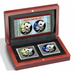 2 x 30 g Silber Panda Set Night & Day 2019 China Farbig in Etui