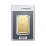 20 gram Heraeus Gold Bar (embossed) .9999 Fine (In Assay)