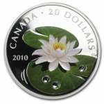 2010 1 Unze Silber Kristall Crystal Dewdrops (Water Lily)...