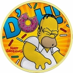 2019 Tuvalu 1 Oz Silber Homer Simpson Yellow  vergoldet...