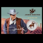 2021 Tuvalu 1 oz Silver John Wayne - The Duke In Color in Coincard 1 AUD BU
