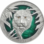3 Oz Silver Barbados MAJESTICAL TIGER Colours of Wildlife...