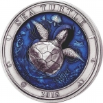 3 Oz Silver Barbados Sea Turtle Barbados 2018 AF coloured...