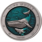 3 Oz Silver BarbadosUnderwater World Blue Whale 2020 AF...