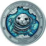 3 Oz Silver BarbadosUnderwater World Spotted Seal 2020 AF...
