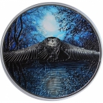 3 Oz Silver Ivory Coast 2000 Francs Nocturnal Owl Night...