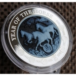 3 Oz Silver Rwanda Lunar Year of the Horse 2014 Cameo-Coin 1.000 RWF