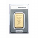31.1 gram (1 Oz) Heraeus Gold Bar (embossed) .9999 Fine...
