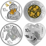 4 x 30 g Silber Panda 2016 China Auspicious Culture...
