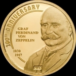 5 $ 2017 Cook Islands Gold - 100 Jahre Graf Zeppelin Proof