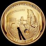 5 USD Gold Apollo 11 - 50 Years Moonlanding Dom Shaped...