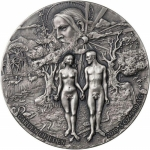 2019 Benin 5 oz Silver 5,000 Francs GARDEN OF EDEN Adam Eve
