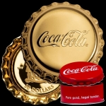 50 $ Dollar Coca Cola Bottle Cap Shaped Fiji 1 Oz Gold...
