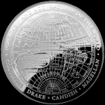 2019 $5  1626 A New Map of the World Terestial Dome 1oz...