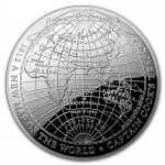 2018 $5  1812 A New Map of the World Terestial Dome 1oz...