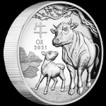2021 $1 High Relief Lunar Ox 1oz Silver Proof