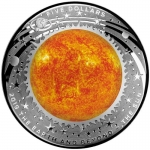 2019 $5 Earth and Beyond - Sun -  Curved Coloured 1oz Silver Proof