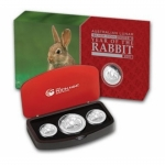 Australien Proof 3 Coin Set Silber Hase 2011 1 Oz 2 Oz 1/2 Oz Rabbit Proof PP